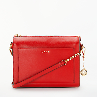 DKNY Bryant Medium Leather Box Cross Body Bag, Safari Red