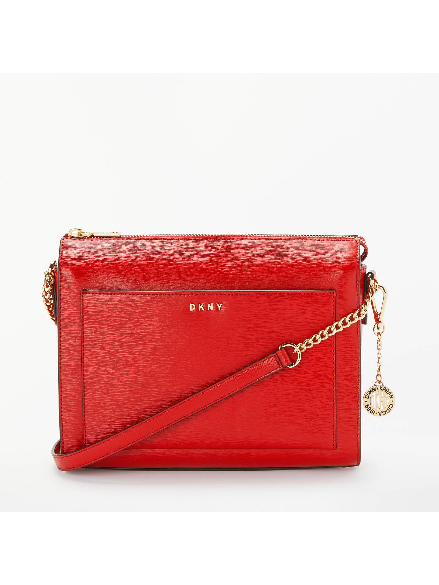 Dkny Bryant Medium Leather Box Cross Body Bag Safari Red Online At Johnlewis