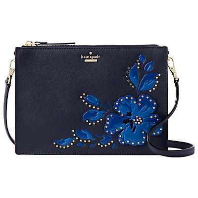 kate spade new york Cameron Street Clarise Leather Floral Stud Cross Body Bag, Blazer Blue