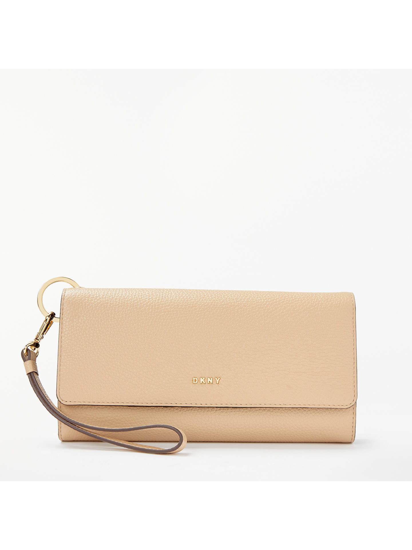 dc94ab79d3a BuyDKNY Chelsea Pebbled Leather Flapover Purse, Eggnog Online at  johnlewis.com ...