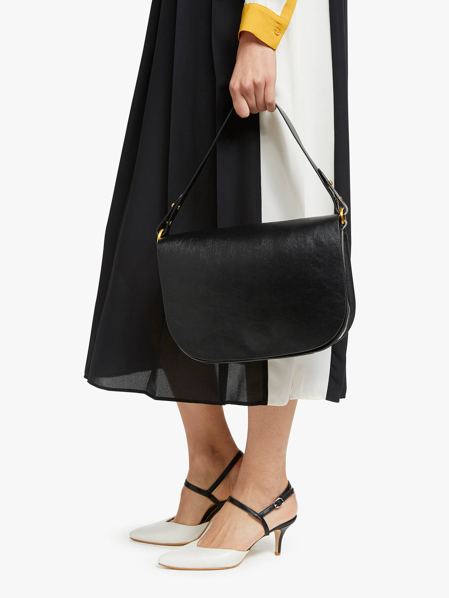 b47f6e841b Buy John Lewis & Partners Delany Leather Saddle Shoulder Bag, Black Online  at johnlewis.