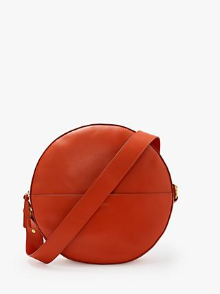 John Lewis Partners Miller Leather Large Circle Shoulder Bag Fiesta