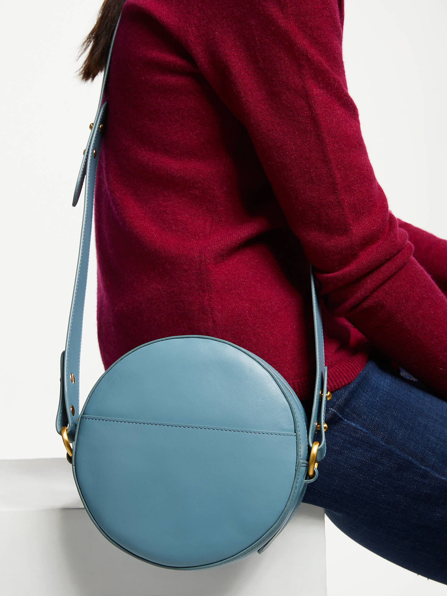Buy John Lewis & Partners Lena Leather Circle Mini Cross Body Bag, Smoke Blue Online at johnlewis.com