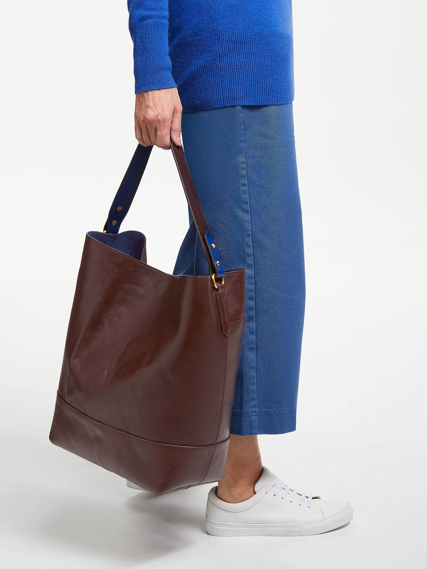 fafc8781b2 ... Buy John Lewis & Partners Sawyer Leather Large Contrast Colour Tote Bag,  Chestnut Online at ...