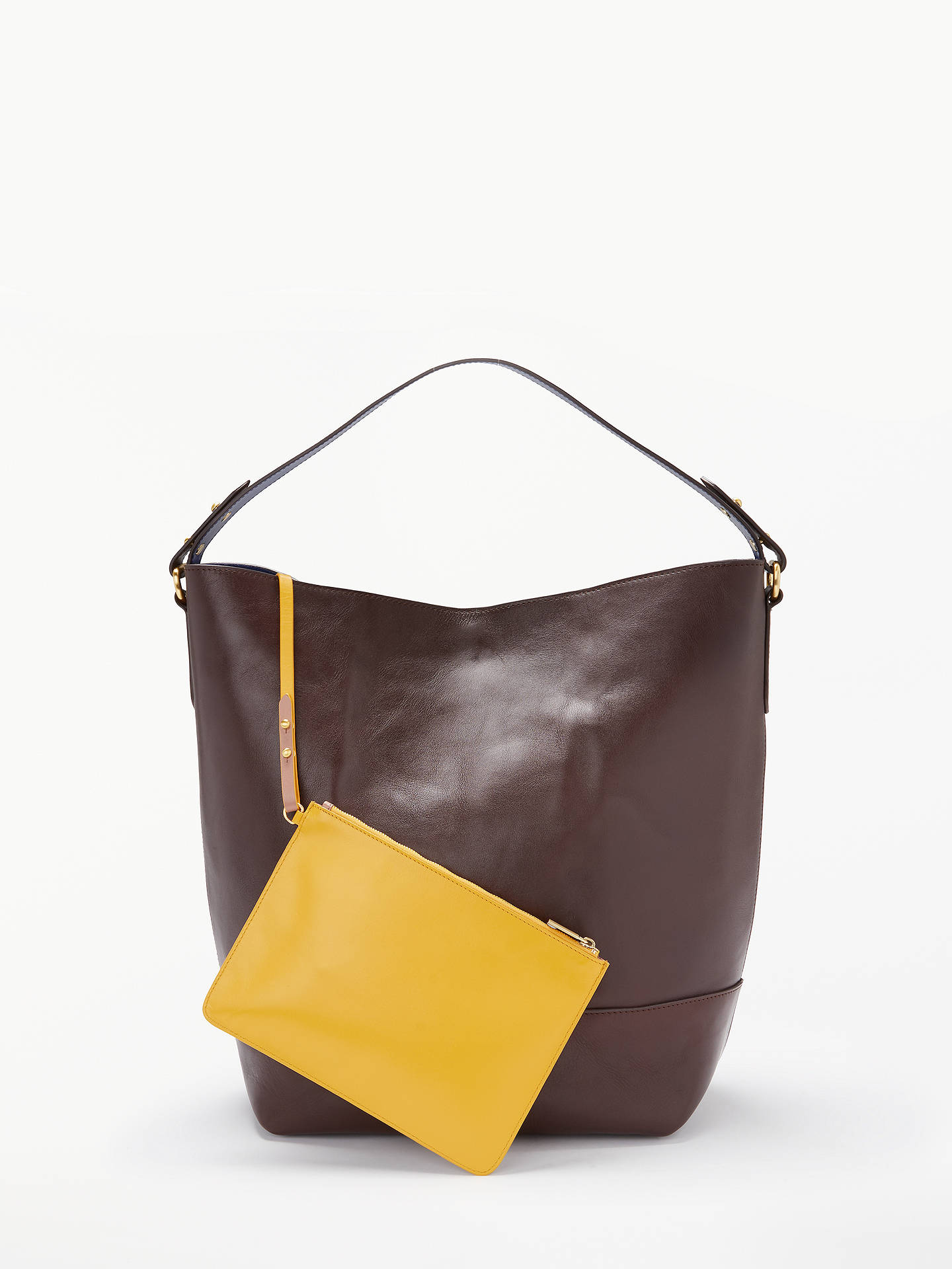 423cc1b817 ... Buy John Lewis & Partners Sawyer Leather Large Contrast Colour Tote Bag,  Chestnut Online at