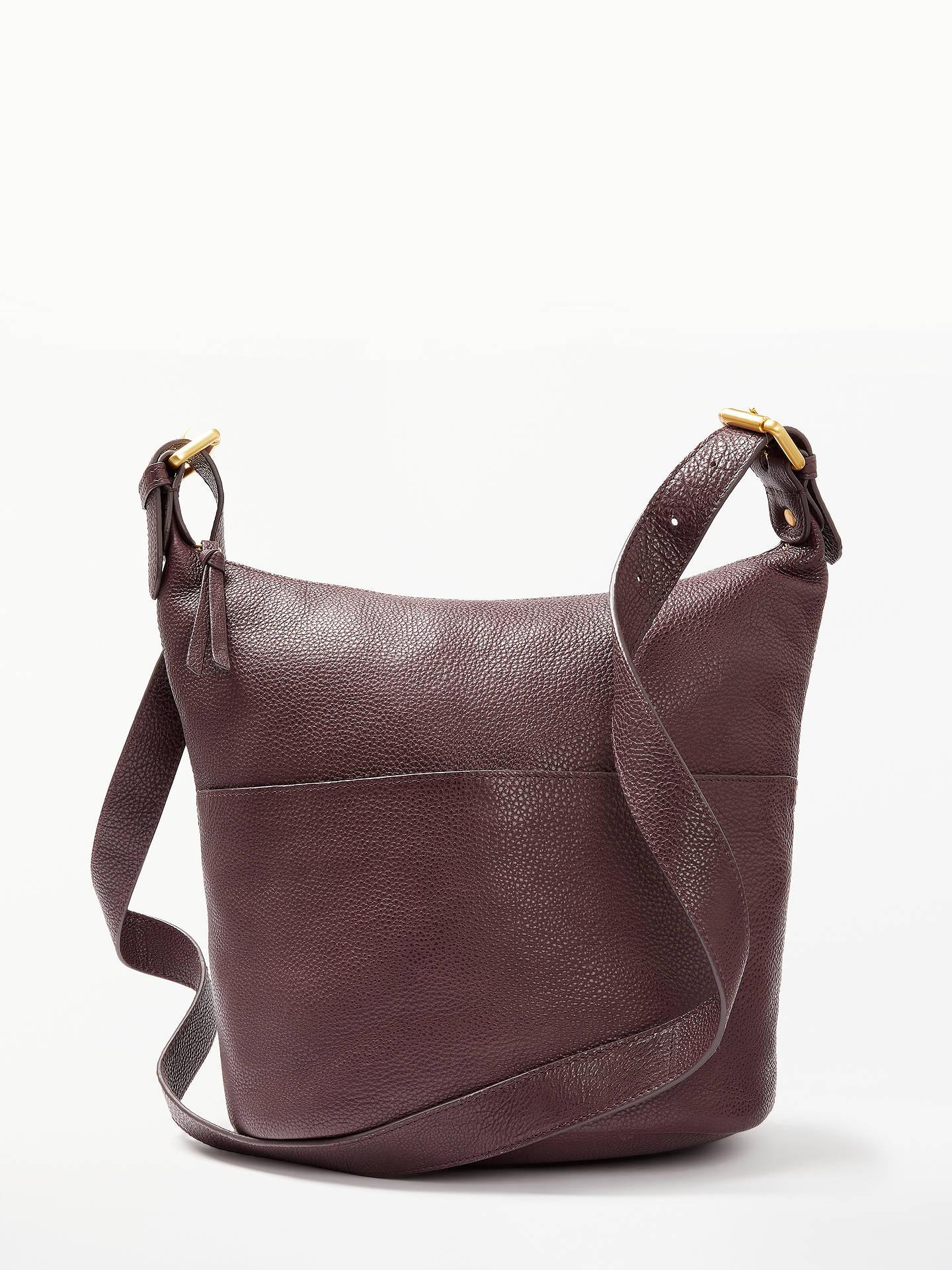 John Lewis Partners Kepley Leather Cross Body Bag Dark Burgundy