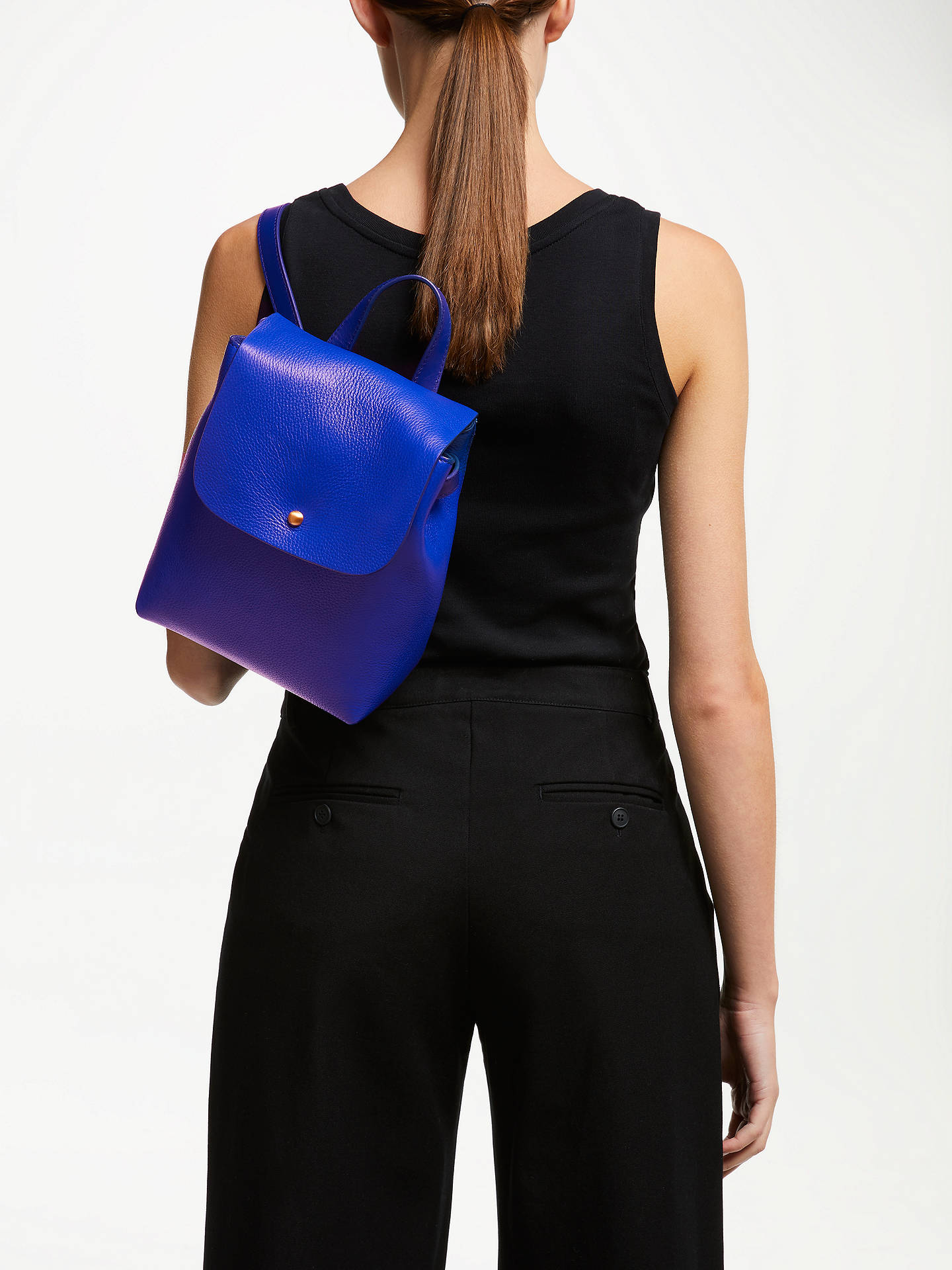 Buy John Lewis & Partners Ellis Leather Mini Backpack, Electric Blue Online at johnlewis.com