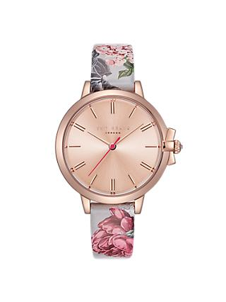 Ted Baker TE50267002 Women's Ruth Floral Leather Strap Watch, Multi/Rose Gold