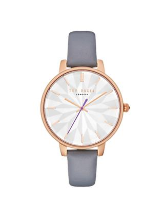 Ted Baker TE50272005 Women's Kate Leather Strap Watch, Grey/White