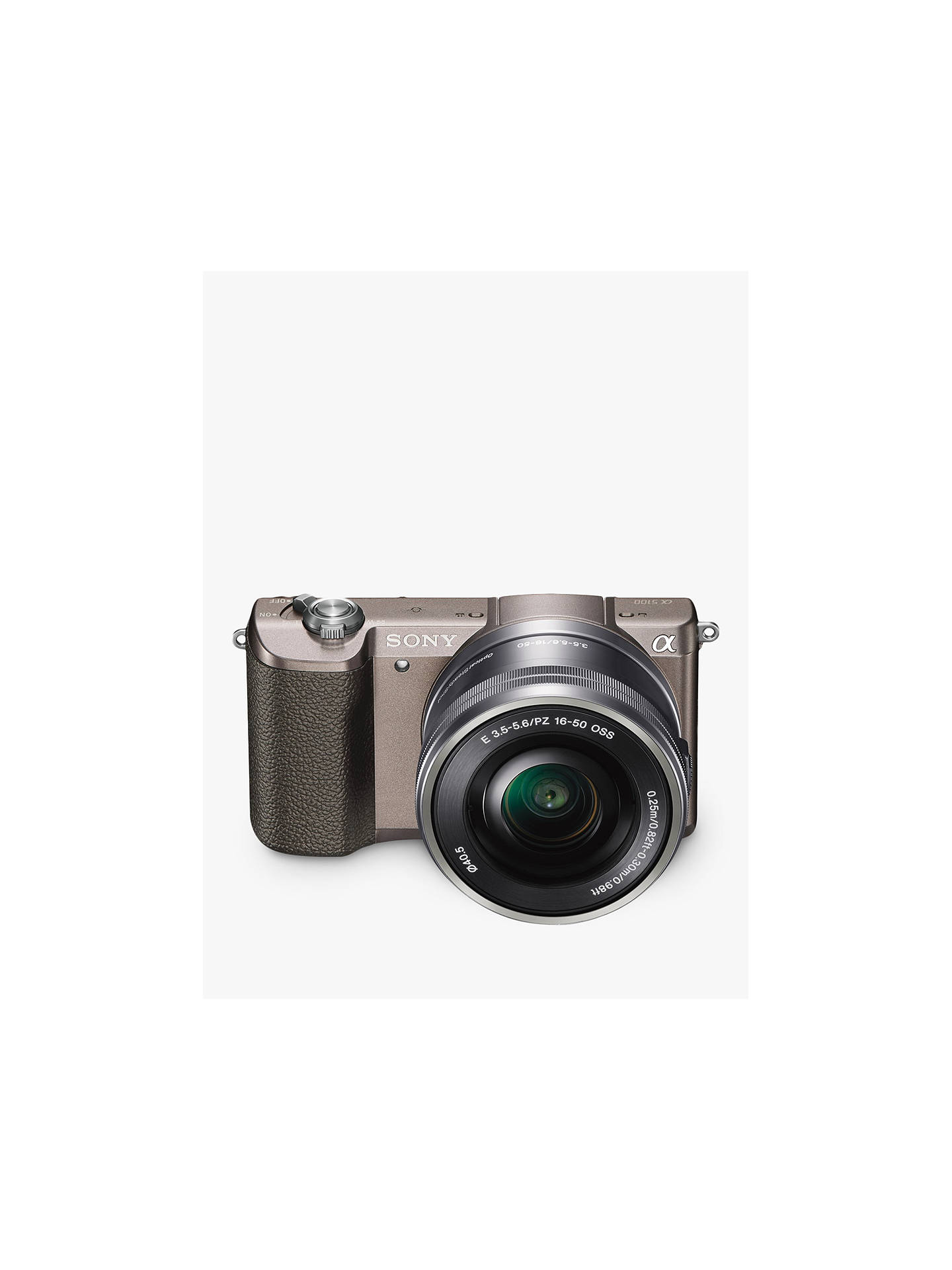 "BuySony A5100 Compact System Camera with 16-50mm OSS Lens, HD 1080p, 24.3MP, Wi-Fi, NFC, OLED, 3"" Tilting Touch Screen with 32GB Memory Card, Brown Online at johnlewis.com"