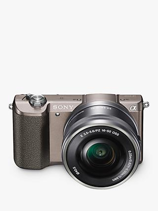 "Sony A5100 Compact System Camera with 16-50mm OSS Lens, HD 1080p, 24.3MP, Wi-Fi, NFC, OLED, 3"" Tilting Touch Screen with 32GB Memory Card, Brown"