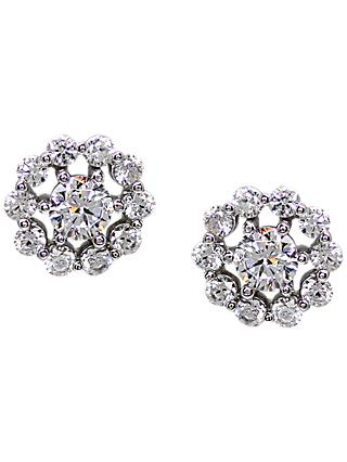 CARAT* London Sterling Silver Flora Stud Earrings, Silver