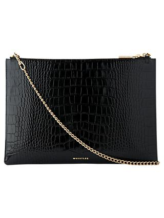 Whistles Rivington Shiny Croc Leather Chain Clutch Bag, Black