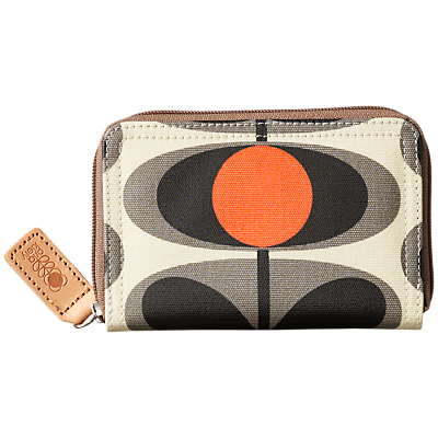 Orla Kiely Flower Stem Print Zip Purse, Granite