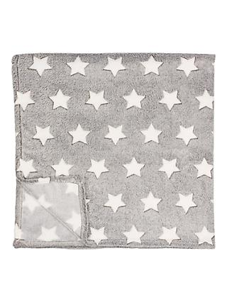 little home at John Lewis Star Fleece Throw, Grey