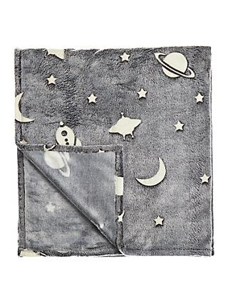 little home at John Lewis Space Glow In The Dark Fleece Throw, Grey
