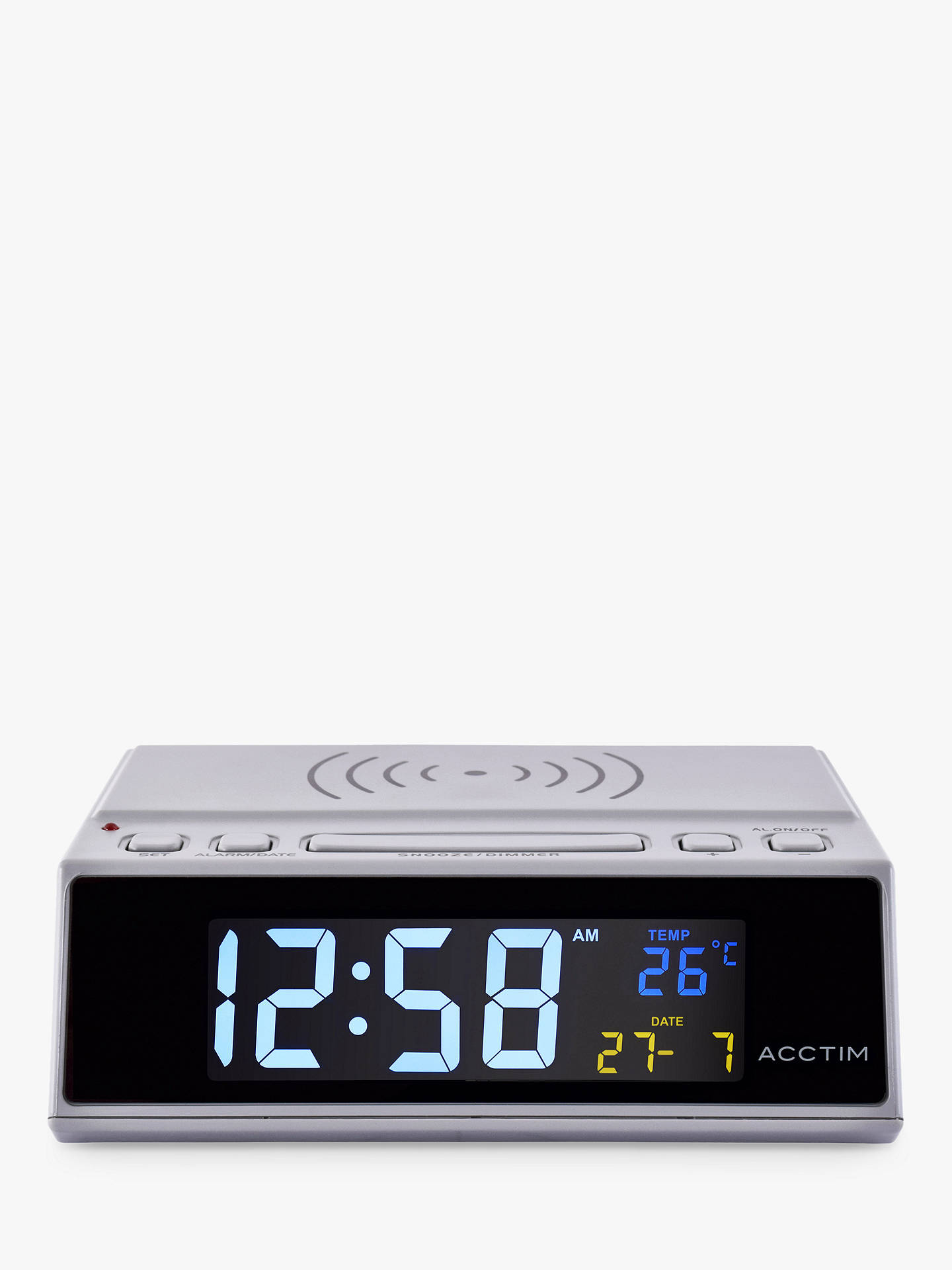 BuyAcctim USB Smart Connector® Wireless Device Charging Alarm Clock, Grey Online at johnlewis.com
