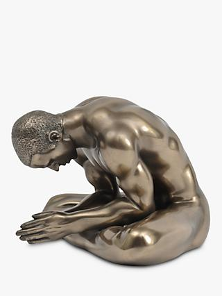 Libra Meditating Man Sculpture, Antique Bronze