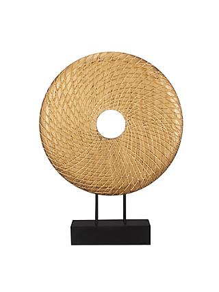 John Lewis & Partners Carved Large Mango Wood Disc Sculpture, Gold