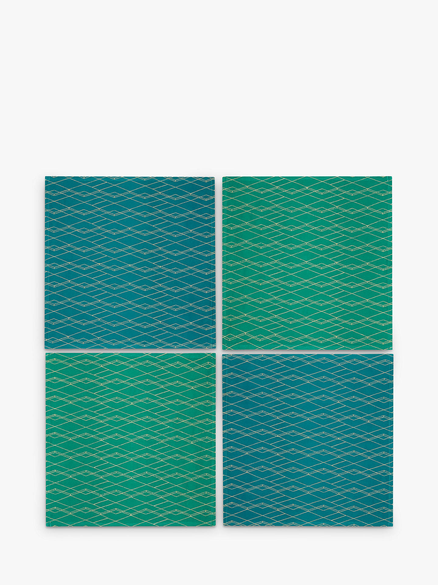 Buy John Lewis & Partners Collector's House Embroidered Napkins, Green/Blue, Set of 4 Online at johnlewis.com