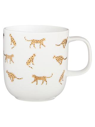 House by John Lewis Cheetah Mug, 308ml, White/Gold