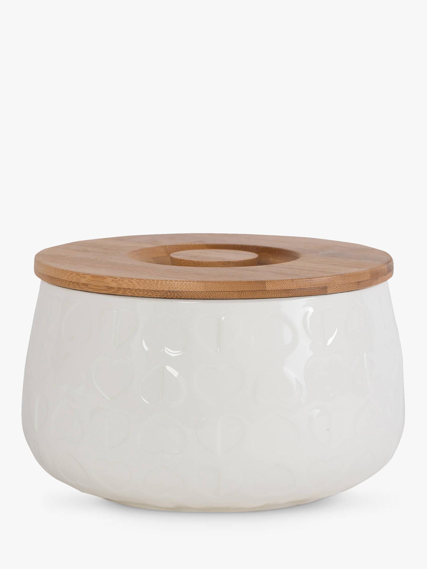 Beau Elliot Embossed Ceramic Biscuit Jar With Wood Lid White Online At Johnlewis