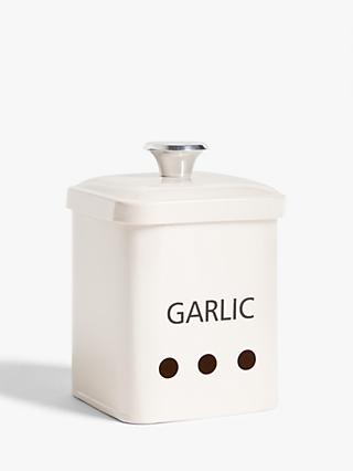 John Lewis & Partners Enamel Garlic Jar, Cream