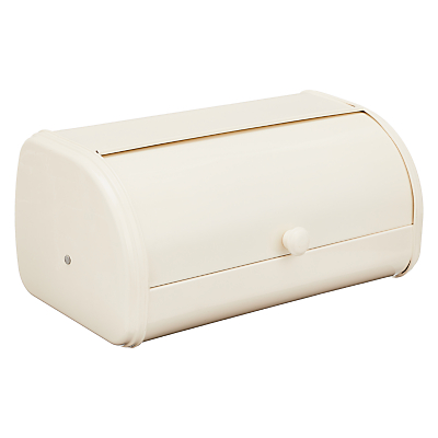 John Lewis & Partners Steel Roll Top Bread Bin, Cream, W37cm