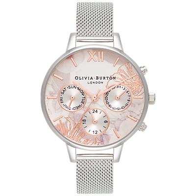 Olivia Burton OB16CGS06 Women's Abstract Florals Chronograph Mesh Bracelet Strap, Silver/Multi