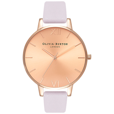 Olivia Burton OB16BD110 Women's Sunray Leather Strap Watch, Blossom/Rose Gold