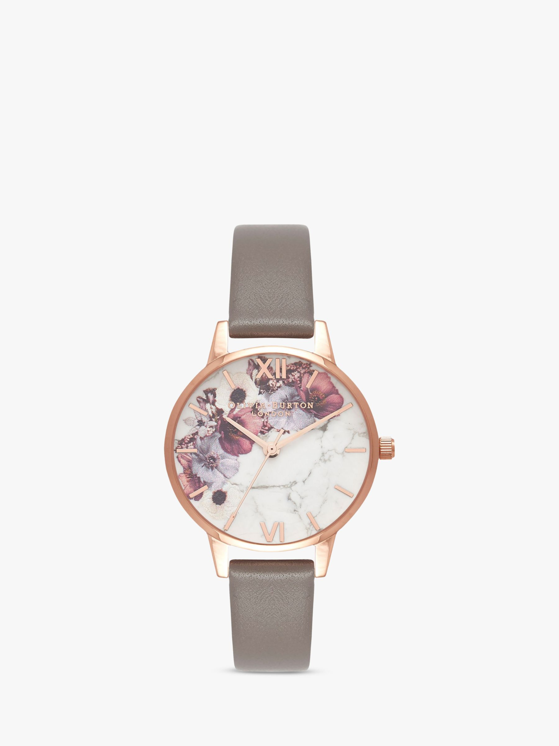 Olivia Burton Olivia Burton OB16MF08 Women's Marble Florals Leather Strap Watch, Grey/Multi