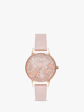 Olivia Burton OB16MV84 Women's Semi Precious Faux Leather Strap Watch, Rose Sand/Rose Quartz