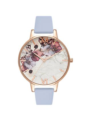 Olivia Burton OB16MF10 Women's Marble Florals Leather Strap Watch, Chalk Blue/Multi