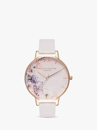 Olivia Burton OB16PP31 Women's Watercolour Florals Leather Strap Watch, Blush/Multi