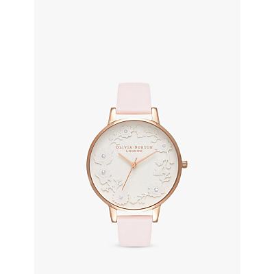 Olivia Burton OB16AR01 Women's Artisan Dial Leather Strap Watch, Blossom/White