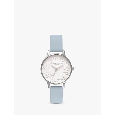 Olivia Burton OB16AR03 Women's Artisan Dial Leather Strap Watch, Pastel Blue/White