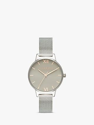 Olivia Burton OB16MD95 Women's Grey Dial Mesh Bracelet Strap Watch, Silver/Grey
