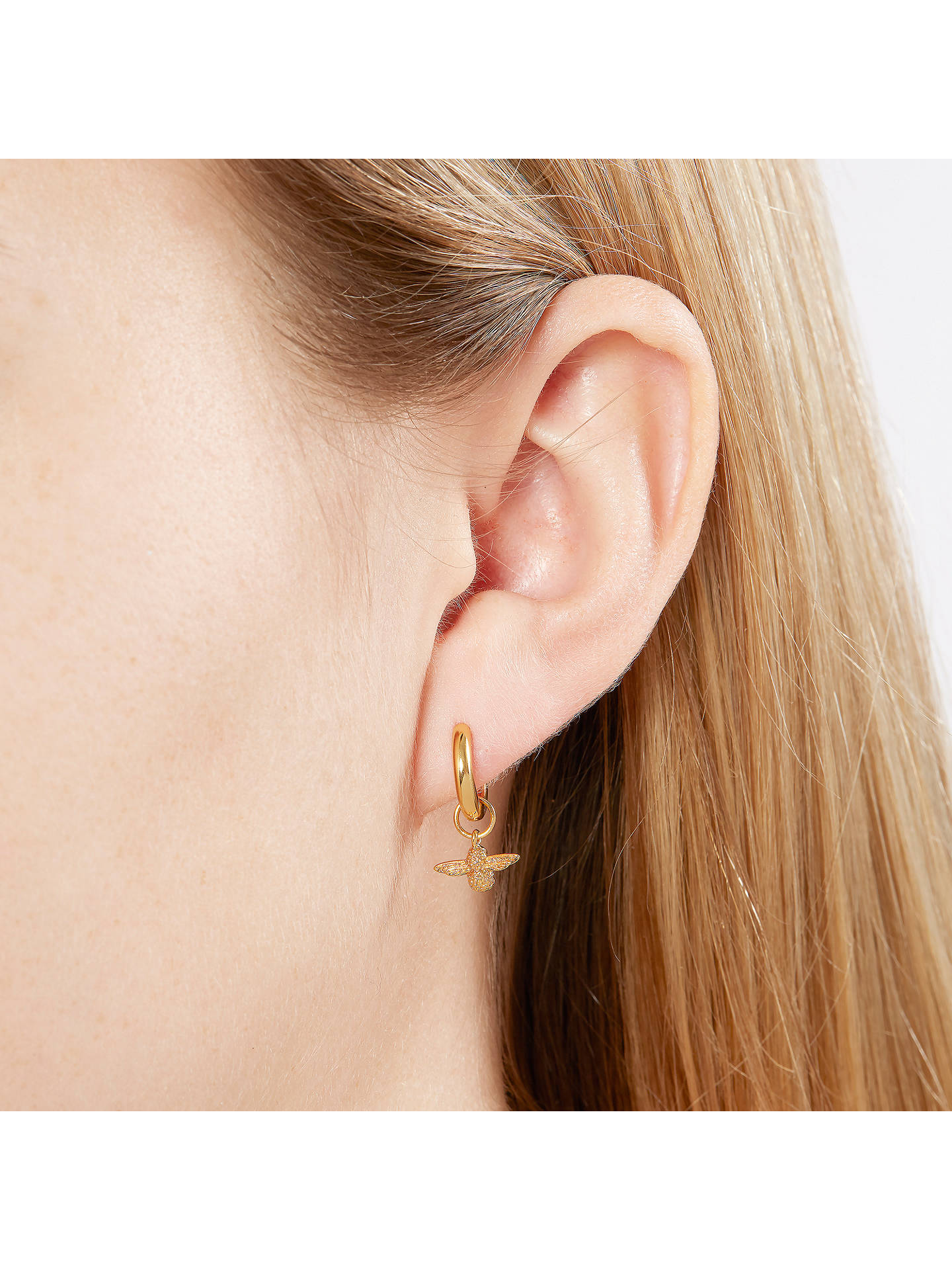 Buy Olivia Burton Queen Bee Hug Hoop Earrings, Gold OBJ16AME34 Online at johnlewis.com