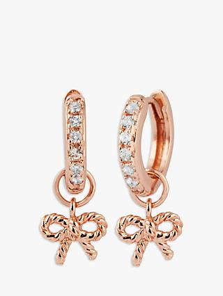 Olivia Burton Vintage Bow Hug Hoop Earrings, Rose Gold OBJ16VBE17