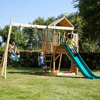 TP Toys Kingswood Hanover Wooden Tower, Swing And Slide Set