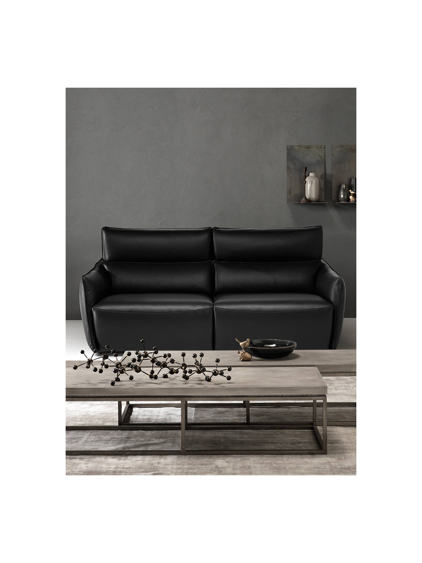68f0a9a2e7b4 ... Buy Natuzzi Stupore 446 Leather Small 2 Seater Sofa with Power Motion,  Dream Black Online