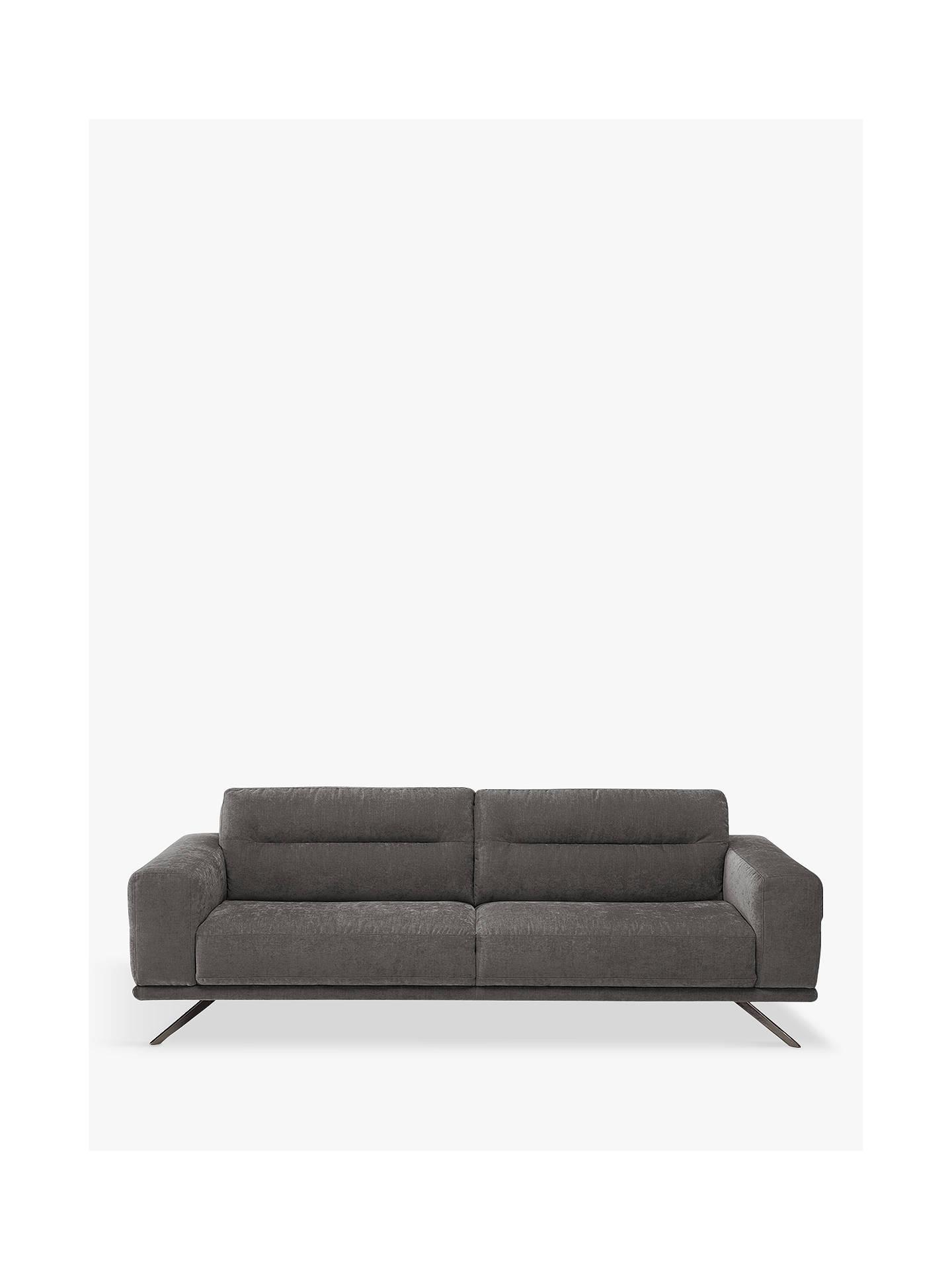 Natuzzi Timido 009 Large 3 Seater Fabric Sofa, Chrome Leg at ...
