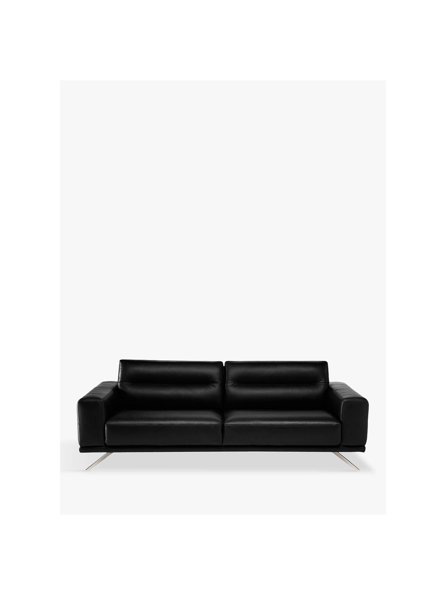 86e571d1ae68 Buy Natuzzi Timido 009 Large 3 Seater Leather Sofa, Nickel Leg, Dream Black  Online ...