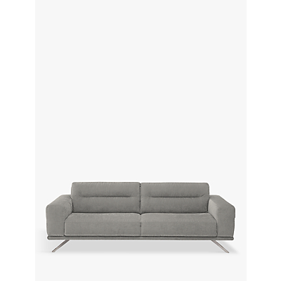Natuzzi Timido 009 Large 3 Seater Fabric Sofa, Nickel Leg
