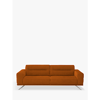 Natuzzi Timido 009 Large 3 Seater Fabric Sofa, Nickel Leg