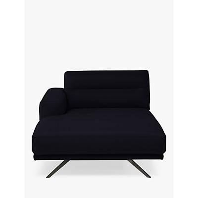 Natuzzi Timido 047 LHF Fabric Chaise, Chrome Leg
