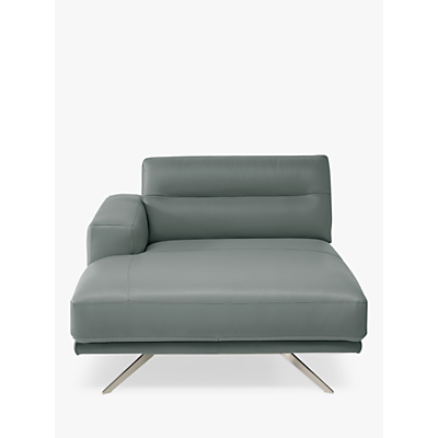 Natuzzi Timido 047 LHF Leather Chaise, Nickel Leg