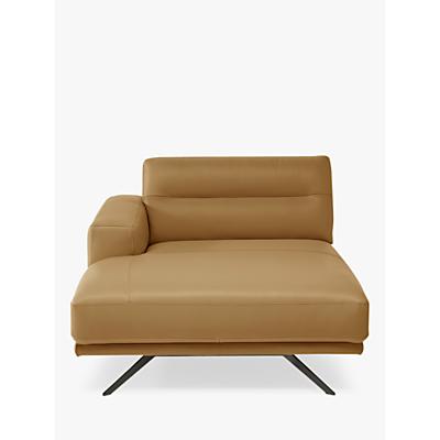 Natuzzi Timido 047 LHF Leather Chaise, Chrome Leg