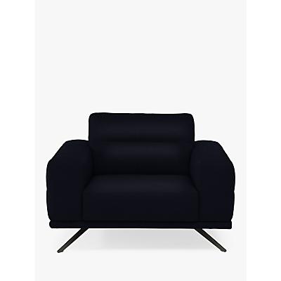 Natuzzi Timido 048 Leather Armchair, Chrome Leg