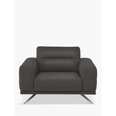 Natuzzi Timido 048 Leather Armchair, Nickel Leg